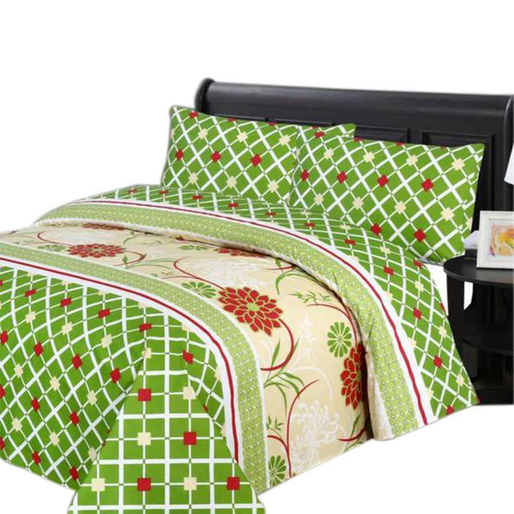 Green & White Cotton Bed Sheet King Size