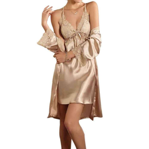 Fawn Short Ladies Nightie With Gown