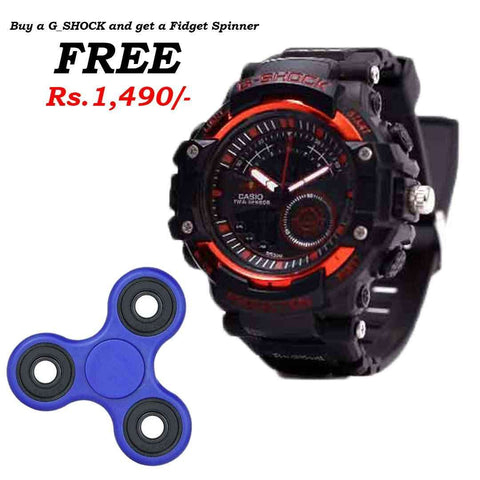 G_Shock Red & Black Watch with Free Spinner