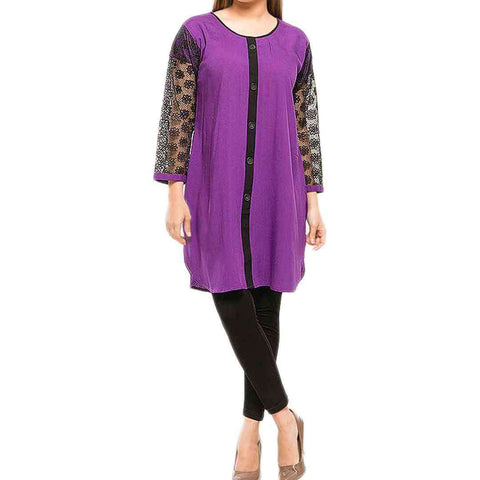 Purple & Black Net Sleeves Kurti