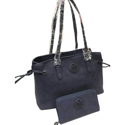 Women's Navy Blue Handbag With Pouch