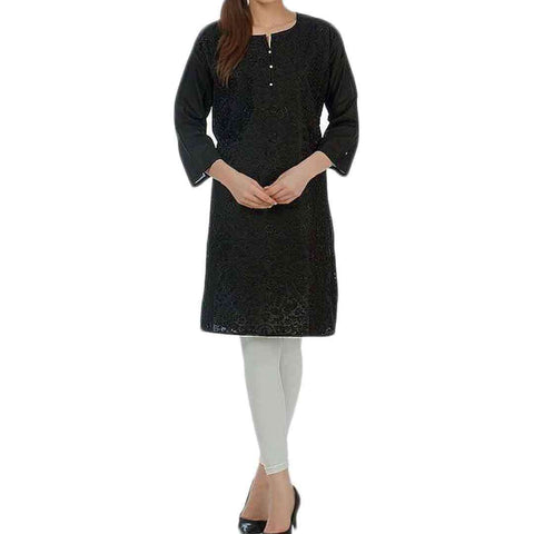 Black Women's Front Embroidery Kurti