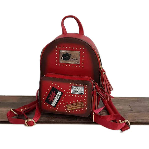 Front Zipper Red Leather Bags
