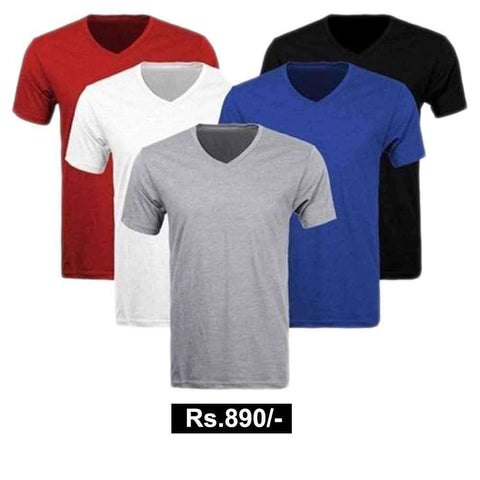 Men's Pack of 5 Cotton V Neck Tees