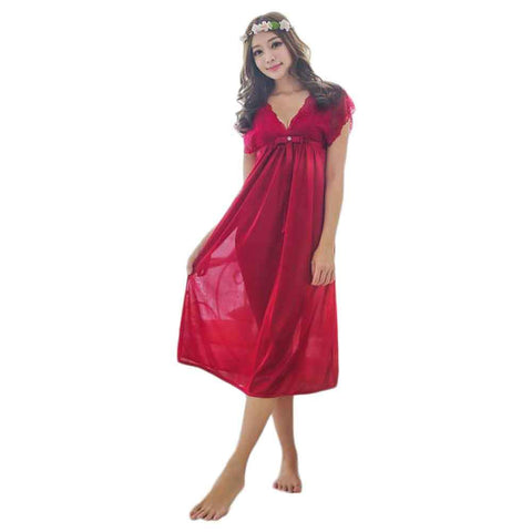Women's 3 Quater Long Silk Gown Nightie
