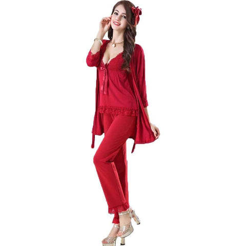 Women's Red Gown Nightwear With Trouser