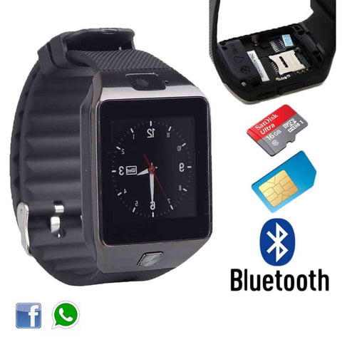 GSM Black Smart Watch with Sim, Memory Card & Camera
