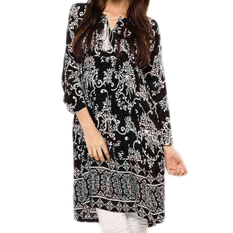 Ladies Black & White Lawn Printed Kurti