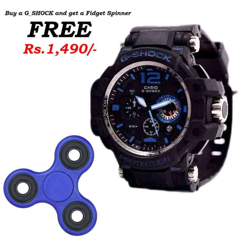 G_Shock Black & Blue Watch with Free Spinner