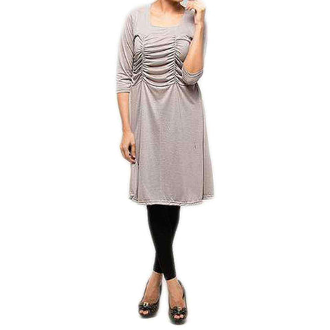 Women's Grey Front Gather Top