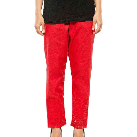 Women's Embroidery Cigg Pent Red