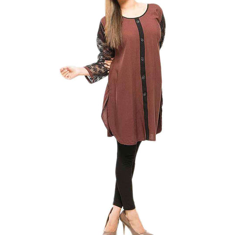 Brown & Black Net Sleeves Kurti