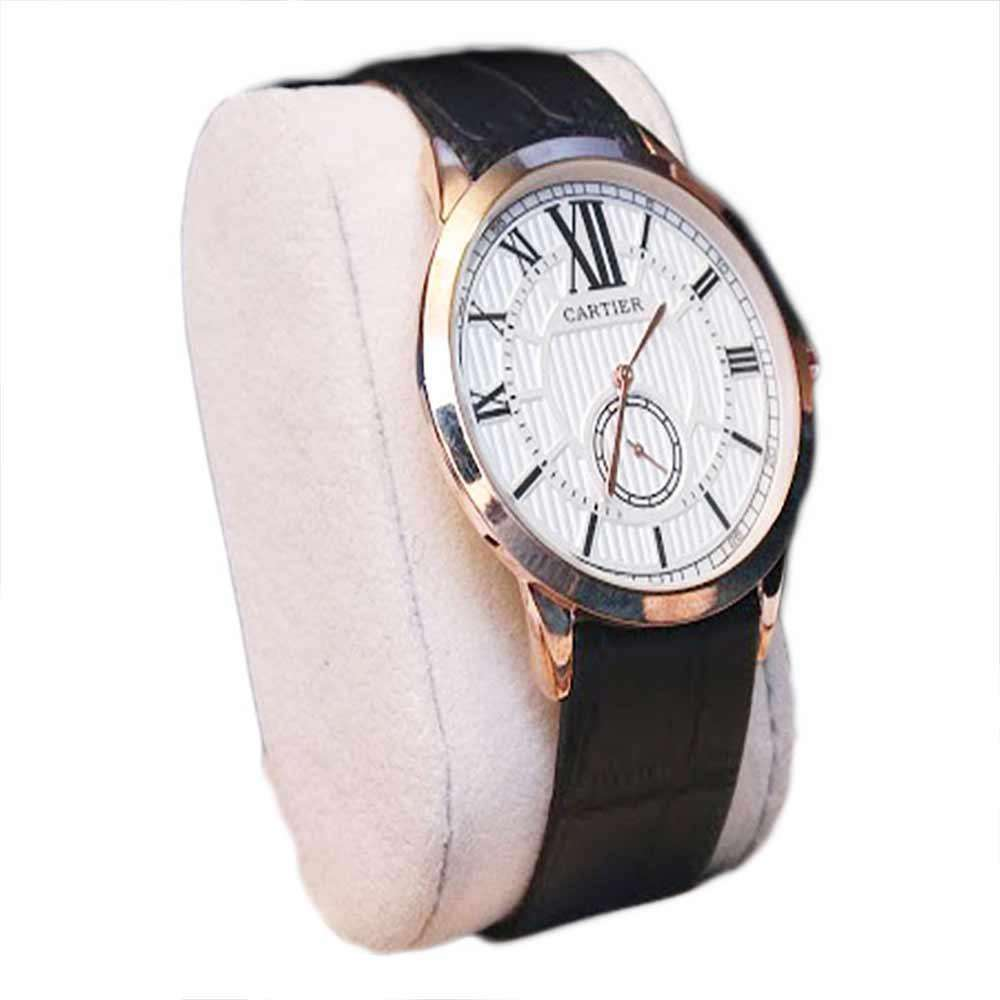 White Dial Black Straps Mens Watch