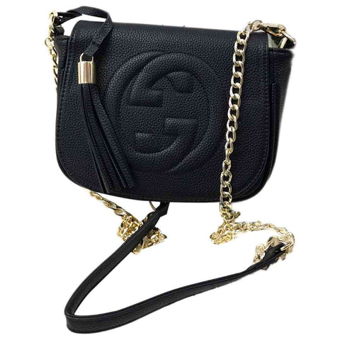 Women's Black Leather Clutch With Golden Chain - Sale