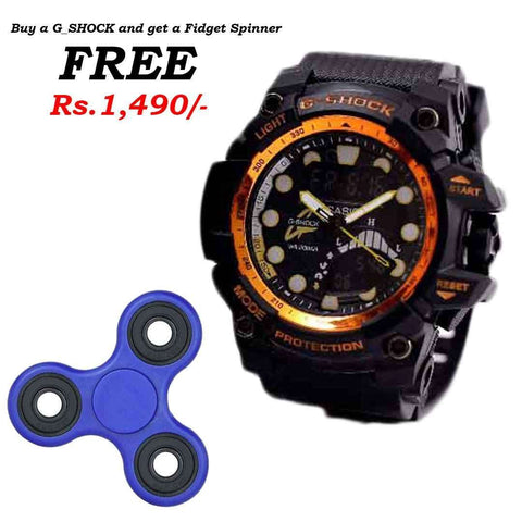 G_Shock Orange & Black Watch with Free Spinner