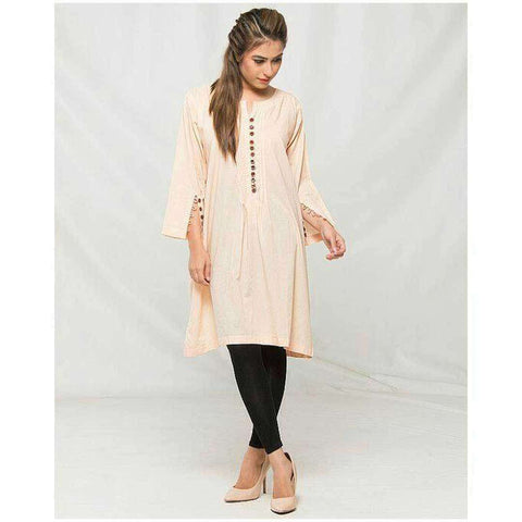 Women's Self Print Cream Kurti