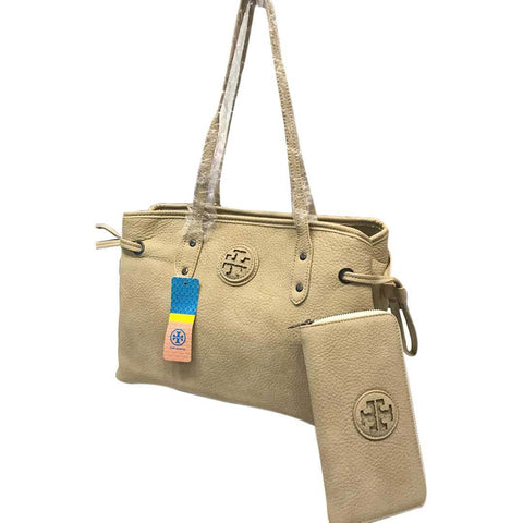 Women's Fawn Leather Handbag With Pouch