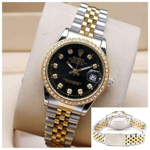 Women's Siver & Golden Wrist Watch With Black Dial