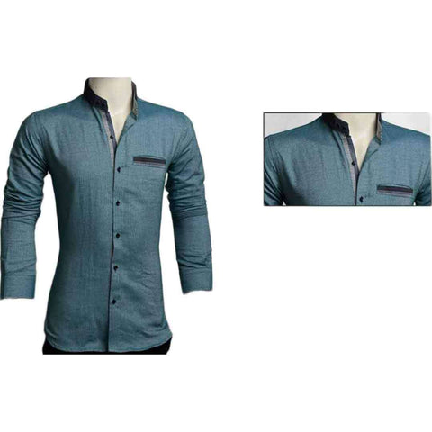 Men's Green Ban Collar Shirt