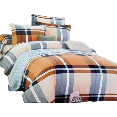 Brown & Sea Blue Pure Cotton Double Bedsheet With Pillow Covers