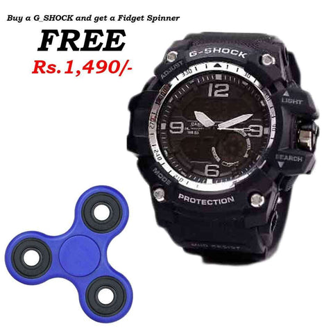 G_Shock Black & White Watch with Free Spinner