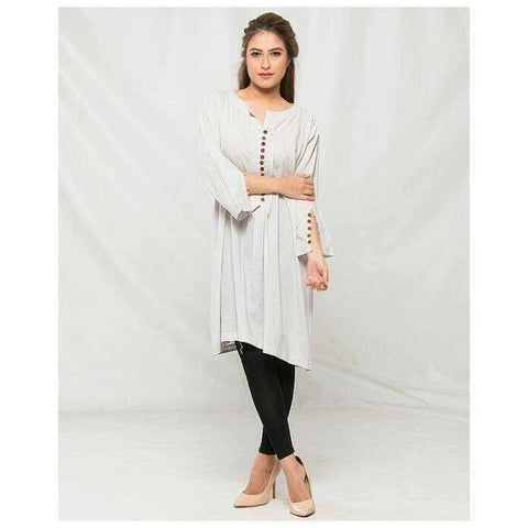 Women's Self Print Grey Kurti