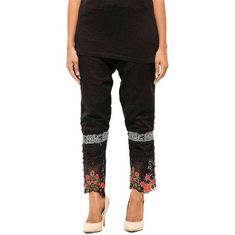 Black Pintex Embroidery Pent For Women