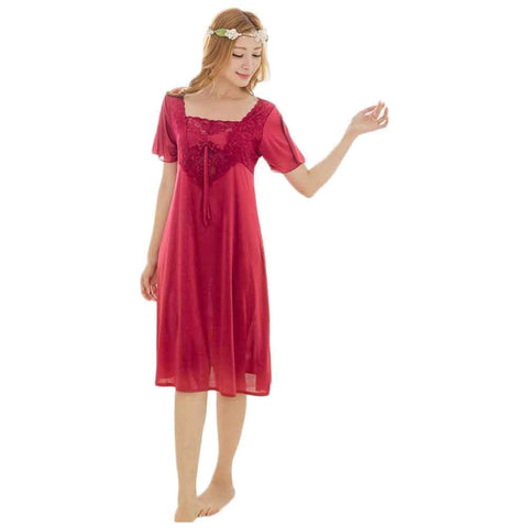 Women's 3 Quater Long Silk Red Gown Nigtwear
