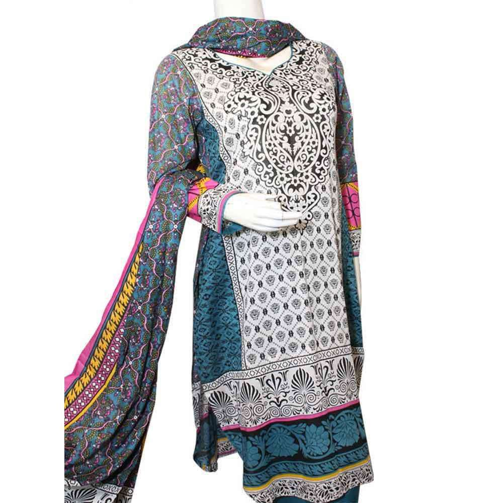 Women's Blue & Grey Venezaa Nimra Printed Lawn Unstitched Suit