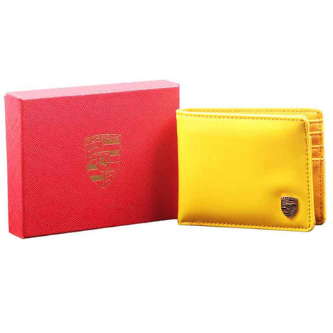 Yellow Glossy Leather Wallet for Men