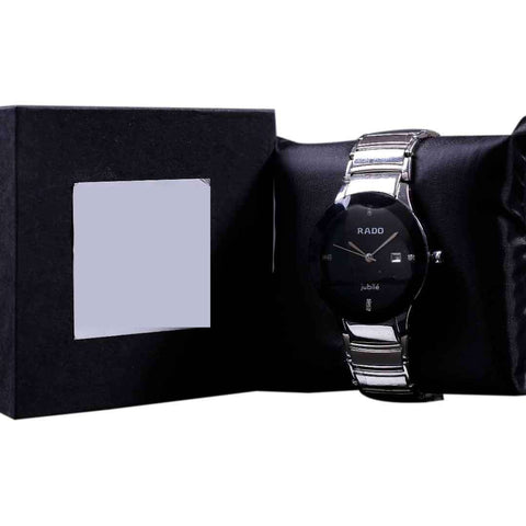 Silver With Black Dial Men's Watch