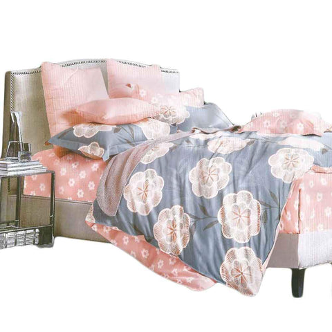 Grey & Pink Pure Cotton Double Bedsheet With Pillow Covers
