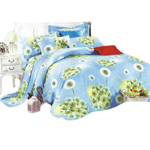 Blue & Green Pure Cotton Double Bedsheet With Pillow Covers