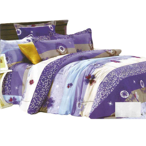 Purple & Blue Pure Cotton Double Bedsheet With Pillow Covers