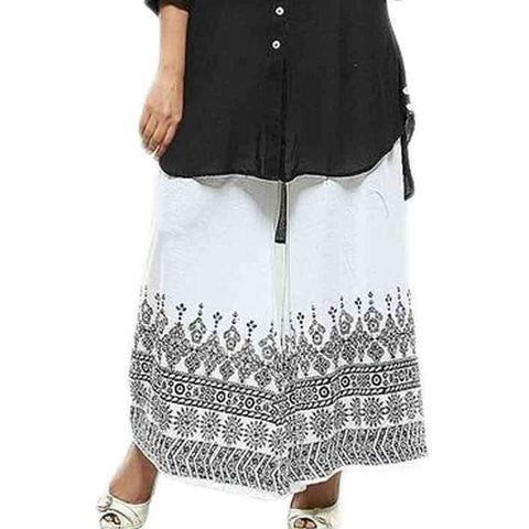 White Printed Plazo for Womens