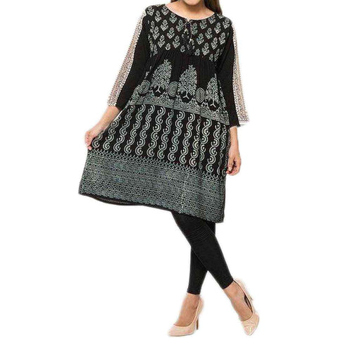 Women's Cotton Black and White Printed Kurti