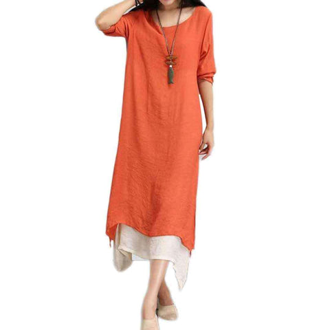 Women's Orange Long Lilan Kurti