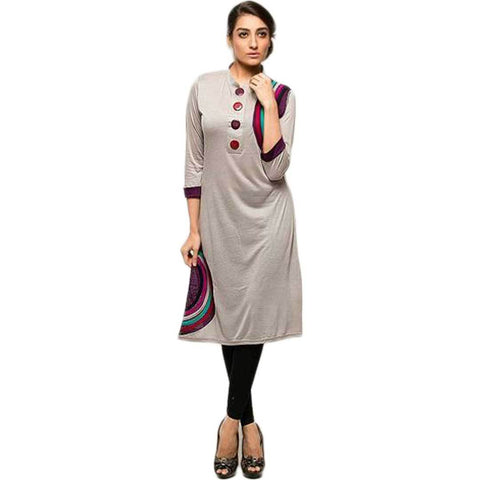 Women's Front Botton Grey Kurti