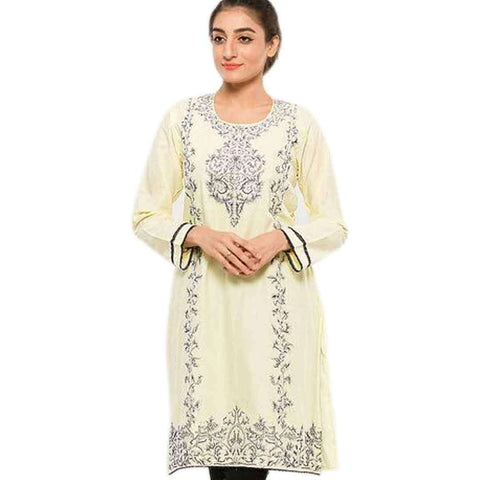 Women's Off White And Black Embroidered Kurti