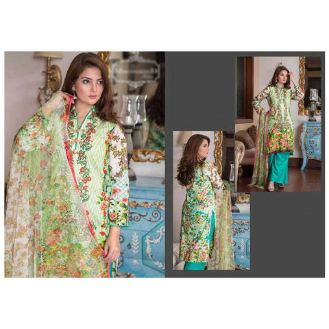 Ayesha Lakhani Sea Green Embroidered Cotton Unstitched 3 Piece Suit