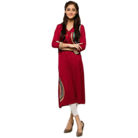 Women's Front Botton Red Kurti