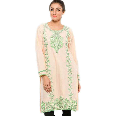 Women's Pink And Green Embroidered Kurti
