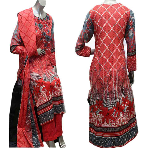 Women's Cotton Red And Grey 3 Pcs Suit