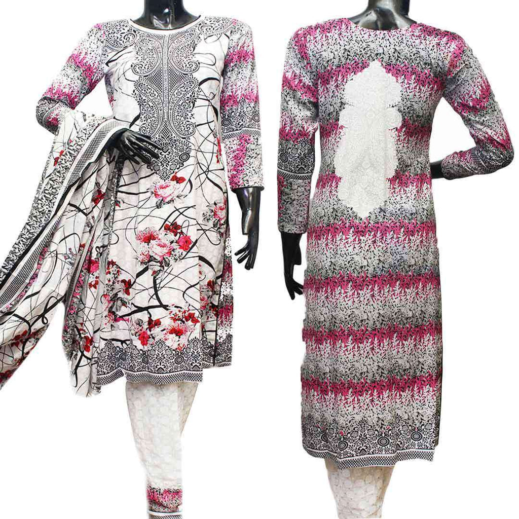 Women's Cotton White And Pink 3 Pcs Suit