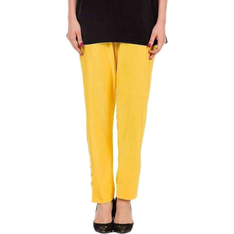 AH Collection Pakistan Yellow Cotton Cigarette Pants for Women   AH Pant CgtY