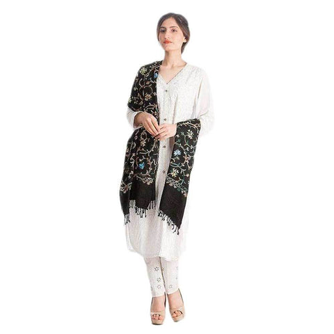 Black Woolen embroidered shawl for Women