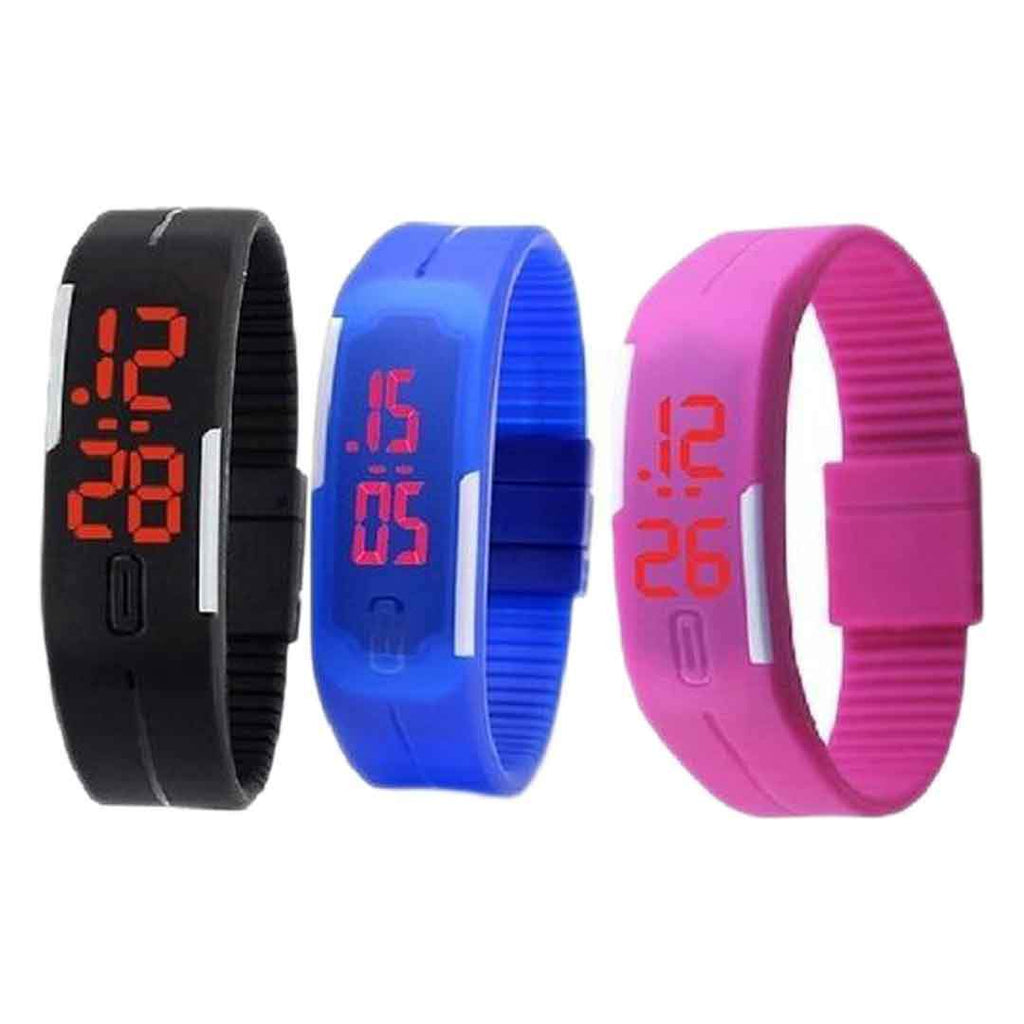 pack of 3 multicolour silicone rubber led digital wrist