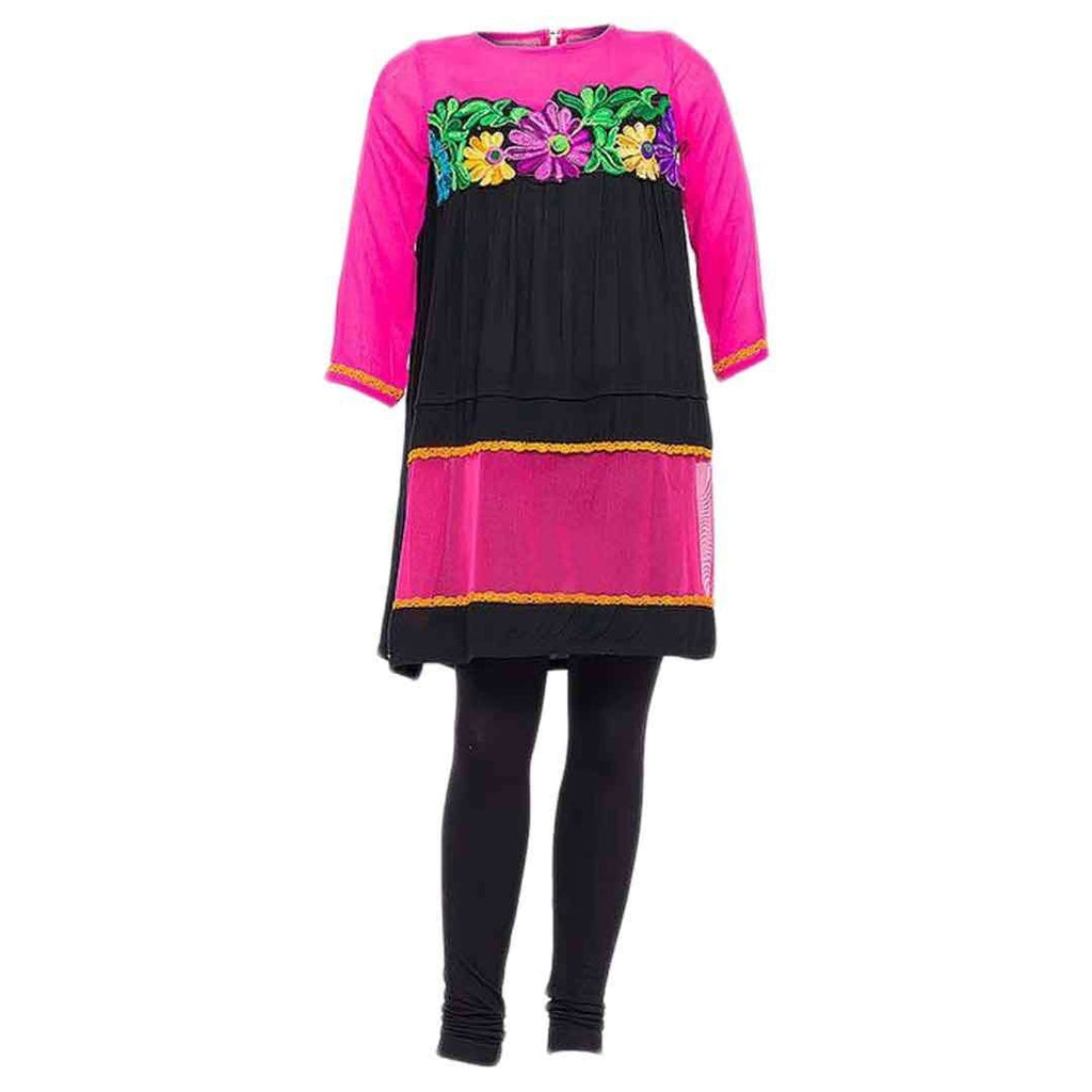 Amaze Black Malai Lawn Short Length Kurta With Woolen Embroidery And Net