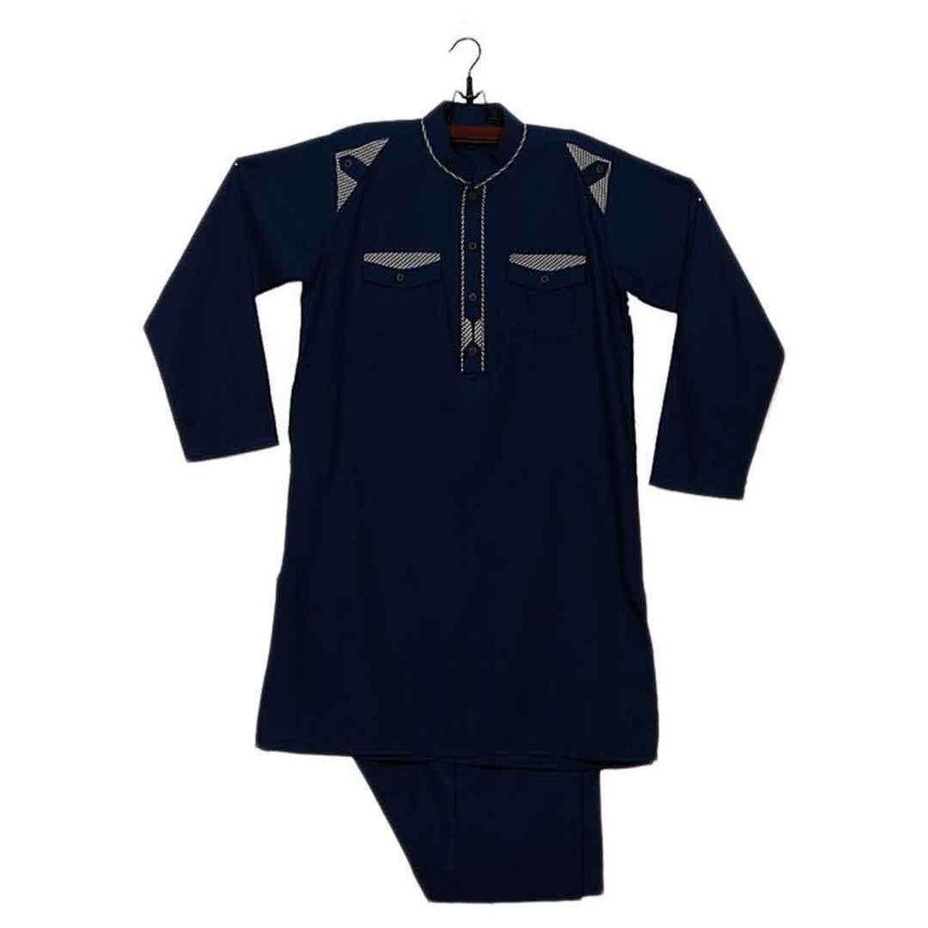 Blue Blended Cotton Shalwar Kameez for Boys