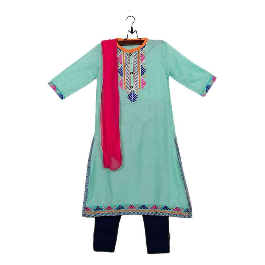 L Sea Green Cotton Embroidered Kurta for Girls